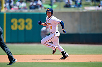 Montgomery Biscuits left fielder Joe McCarthy (31) runs the bases during a game against the Mississippi Braves on April 25, 2017 at Montgomery Riverwalk Stadium in Montgomery, Alabama.  Mississippi defeated Montgomery 3-2.  (Mike Janes/Four Seam Images)