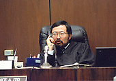 Superior Court Judge Lance Ito presides during the trial of former NFL star running back O.J. Simpson for the murder of his former wife, Nicole Brown Simpson and a friend of hers, restaurant waiter, Ron Goldman in Los Angeles County Superior Court in Los Angeles, California on July 13, 1995.<br /> Credit: Steve Grayson / Pool via CNP