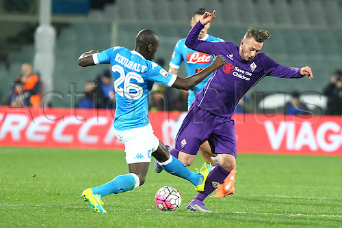 29.02.2016. Stadium Artemio Franchi, Florence, Italy.  Serie A football league. Fiorentina versus Napoli. Bernardeschi Federico (F) receives a high tackle from Koulibaly