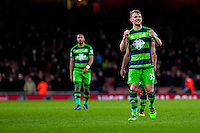 Stephen Kingsley of Swansea City celebrates after the final of the the Barclays Premier League match between Arsenal and Swansea City at the Emirates Stadium, London, UK, Wednesday 02 March 2016