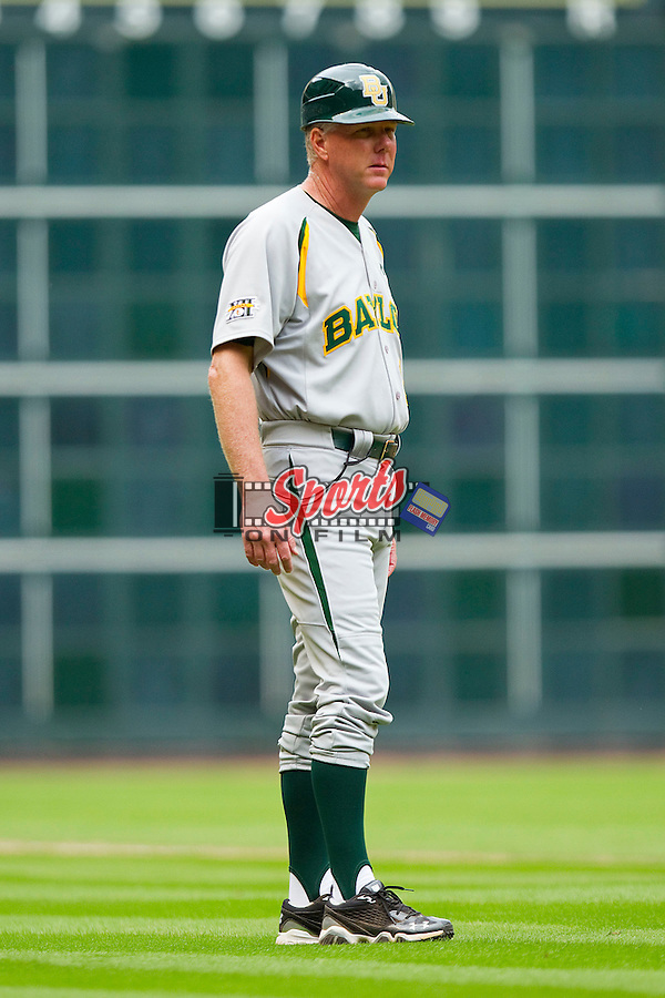 Baylor Bears third base coach Steve Johnigan during a game against the Houston Cougars at Minute Maid Park on March 4, 2011 in Houston, Texas.  Photo by Brian Westerholt / Four Seam Images