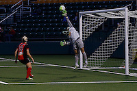 Rochester, NY - Saturday May 21, 2016: Western New York Flash goalkeeper Sabrina D'Angelo (1). The Western New York Flash defeated Sky Blue FC 5-2 during a regular season National Women's Soccer League (NWSL) match at Sahlen's Stadium.