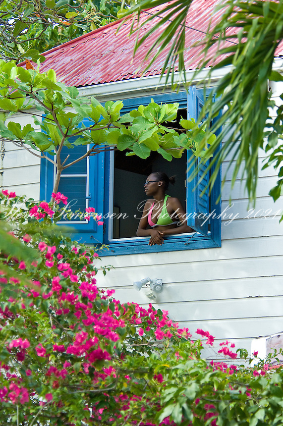 Scenes in and around Indigo House on Cane Garden Bay, Tortola, British Virgin Islands Crystal looking out from the upstairs window