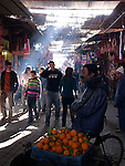 Crowds of people in the souk in Marrakesh.