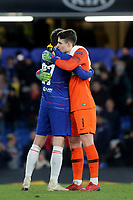 Andreas Christensen and Kepa Arrizabalaga of Chelsea celebrate their 3-0 victory at the final whistle during Chelsea vs Dynamo Kiev, UEFA Europa League Football at Stamford Bridge on 7th March 2019