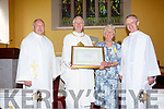 Joan Gallagher, The Old Rectory, Knightstown being presented with the Bene Merenti Medal and Certificate on Sunday, for outstanding service to the Church with 63 years in charge of the Valentia Choir, pictured here l-r; Fr Gerard Finucane, Bishop Ray browne, Joan Gallagher & Fr Larry Kelly.