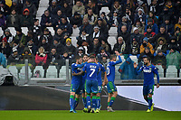 1st December 2019; Allianz Stadium, Turin, Italy; Serie A Football, Juventus versus Sassuolo; Jeremie Boga of Sassuolo celebrates with teammates after equalizing for 1-1 in the 21st minute - Editorial Use