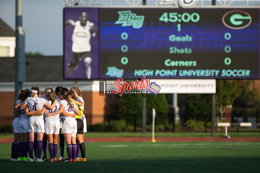 The High Point Panthers huddle up prior to their women's soccer match against the Georgia Bulldogs at Vert Track, Soccer & Lacrosse Stadium on August 21, 2015 in High Point, North Carolina.  The Panthers and the Bulldogs played to a 0-0 draw.   (Brian Westerholt/Sports On Film)