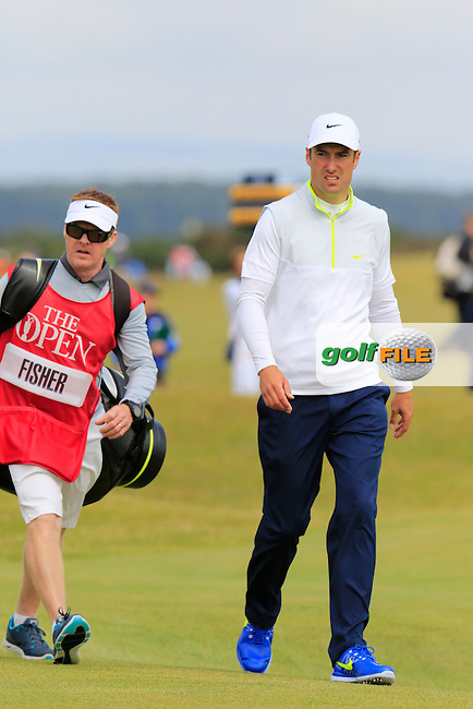 Ross FISHER (ENG) and caddy Mark Sherwood on the 16th hole during Monday's Final Round of the 144th Open Championship, St Andrews Old Course, St Andrews, Fife, Scotland. 20/07/2015.<br /> Picture Eoin Clarke, www.golffile.ie