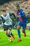 Nelson Cabral Semedo of FC Barcelona competes for the ball with Ruben Miguel Nunes Vezo of Valencia CF  during the La Liga 2017-18 match between Valencia CF and FC Barcelona at Estadio de Mestalla on November 26 2017 in Valencia, Spain. Photo by Maria Jose Segovia Carmona / Power Sport Images