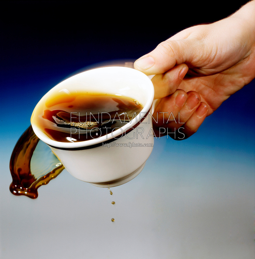 PERIODIC DISTURBANCE IN A COFFEE CUP<br /> Surface Wave Created By Vibration From Walking<br /> The vibration from walking creates a surface wave in the coffee cup. As the wave approaches the cup rim, liquid drags at the bottom and the crest spills over the top.
