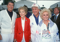 Ronald Reagan Nancy Reagan Merv Griffin Zsa Zsa Gabor<br /> 1990s<br /> Photo By Michael Ferguson/CelebrityArchaeology.com