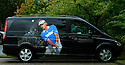 A picture of Bernhard Langer (GER) is displayed on a Mercedes-Benz transit van during the 2009 Mercedes Benz Championship in Cologne, Germany. Picture Credit / Phil Inglis