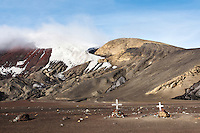 Grave markers at Whalers Bay on Deception Island provide somber evidence to hard, risky occupation as a whaler in the Antarctic.