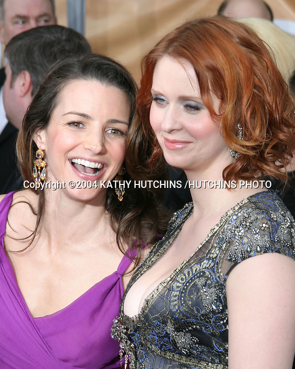 ©2003 KATHY HUTCHINS /HUTCHINS PHOTO.10TH ANNUAL SCREEN ACTORS GUILD AWARDS.SHRINE AUDITORIUM.LOS ANGELES, CA.FEBRUARY 22, 2004..KRISTIN DAVIS AND CYNTHIA NIXON