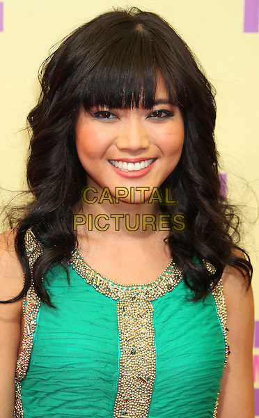 Jessica Lu.2012 MTV Video Music Awards held at Staples Center, Los Angeles, California, USA 6th September 2012..vmas vma arrivals  portrait headshot fringe green gold beaded  .CAP/ADM/RE.©Russ Elliot/AdMedia/Capital Pictures.