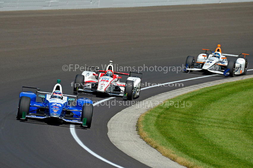 Verizon IndyCar Series<br /> Indianapolis 500 Carb Day<br /> Indianapolis Motor Speedway, Indianapolis, IN USA<br /> Friday 26 May 2017<br /> Takuma Sato, Andretti Autosport Honda, Ed Jones, Dale Coyne Racing Honda, JR Hildebrand, Ed Carpenter Racing Chevrolet<br /> World Copyright: F. Peirce Williams