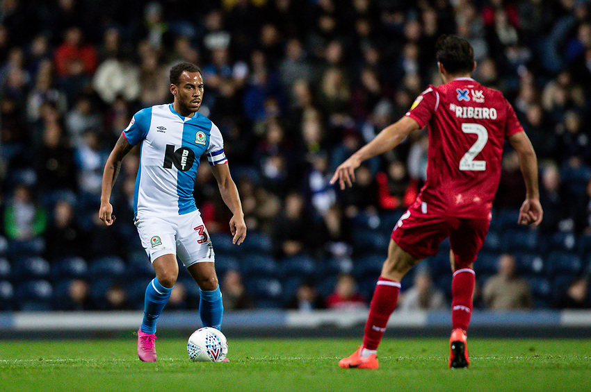 Blackburn Rovers' Elliott Bennett competing with Nottingham Forest's Yuri Ribeiro (right) <br /> <br /> Photographer Andrew Kearns/CameraSport<br /> <br /> The EFL Sky Bet Championship - Blackburn Rovers v Nottingham Forest - Tuesday 1st October 2019  - Ewood Park - Blackburn<br /> <br /> World Copyright © 2019 CameraSport. All rights reserved. 43 Linden Ave. Countesthorpe. Leicester. England. LE8 5PG - Tel: +44 (0) 116 277 4147 - admin@camerasport.com - www.camerasport.com