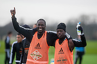 Wednesday  06 January 2016<br /> Pictured: Eder of Swansea with Modou Barrow of Swansea<br /> Re: Swansea City Training session at the Fairwood training ground, Swansea, Wales, UK