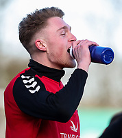 Fleetwood Town's Harry Souttar takes a drink whilst warming up before the match  <br /> <br /> Photographer Andrew Kearns/CameraSport<br /> <br /> The EFL Sky Bet League One - Fleetwood Town v Charlton Athletic - Saturday 2nd February 2019 - Highbury Stadium - Fleetwood<br /> <br /> World Copyright © 2019 CameraSport. All rights reserved. 43 Linden Ave. Countesthorpe. Leicester. England. LE8 5PG - Tel: +44 (0) 116 277 4147 - admin@camerasport.com - www.camerasport.com