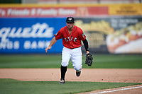 Erie SeaWolves first baseman Will Maddox (19) during a game against the Akron RubberDucks on August 27, 2017 at UPMC Park in Erie, Pennsylvania.  Akron defeated Erie 6-4.  (Mike Janes/Four Seam Images)