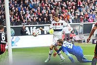 Thomas Mueller (Bayern) erzielt das 0:1 - Eintracht Frankfurt vs. FC Bayern München, Commerzbank Arena