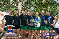 The Ste. Genevieve girls pose with their 1st place trophy after a dominating win in the 4A race at the Hancock Cross Country Invitational, Saturday, September 28, at Jefferson Barracks Park in St. Louis, MO.
