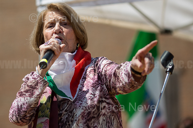 """Tina Costa (Antifascist Partizan. Member of the Partigiani: the Italian Resistance during WWII).<br /> <br /> Rome, 25/04/2018. Today, to mark the 73rd Anniversary of the Italian Liberation from nazi-fascism ('Liberazione'), ANED Roma & ANPI Roma (National Association of Italian Partizans) held a march ('Corteo') from Garbatella to Piazzale Ostiense where a rally took place attended by Partizans, Veterans and politicians – including the Mayor of Rome and the President of Lazio's Region. FOR THE FULL CAPTIONS PLEASE CHECK """"Photo Stories - 2010 to Today"""" 25.04.2018."""