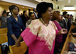 "(Boston MA 01/14/18) Gloria Savory of Mattapan, Sings We Shall Overcome"" with the rest of the church members, during the annual Martin Luther King Jr. Convocation at the Twelfth Baptist Church in Roxbury, Sunday, January 14, 2018, in Boston. (Herald Photo by Jim Michaud"