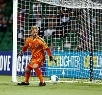 1st February 2020; HBF Park, Perth, Western Australia, Australia; A League Football, Perth Glory versus Melbourne Victory; Lawrence Thomas of Melbourne Victory watches the shot pass safely wide of his net