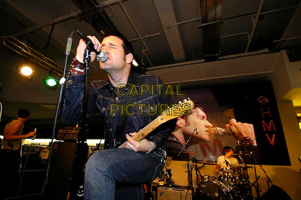 THE BRAVERY - JOHN CONWAY.Instore gig & signing at HMV, 150 Oxford Street, London..September 1st, 2005.half length show performance music guitar singing.www.capitalpictures.com.sales@capitalpictures.com.©Capital Pictures
