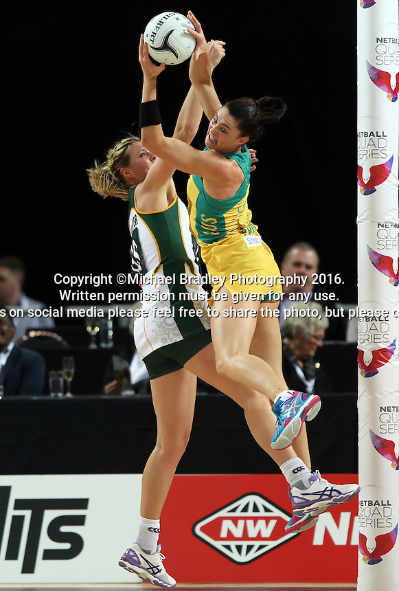 27.08.2016 South Africa's Lenize Potgieter and Australia's Sharni Layton in action during the Netball Quad Series match between South Africa and Australia at Vector Arena in Auckland. Mandatory Photo Credit ©Michael Bradley.