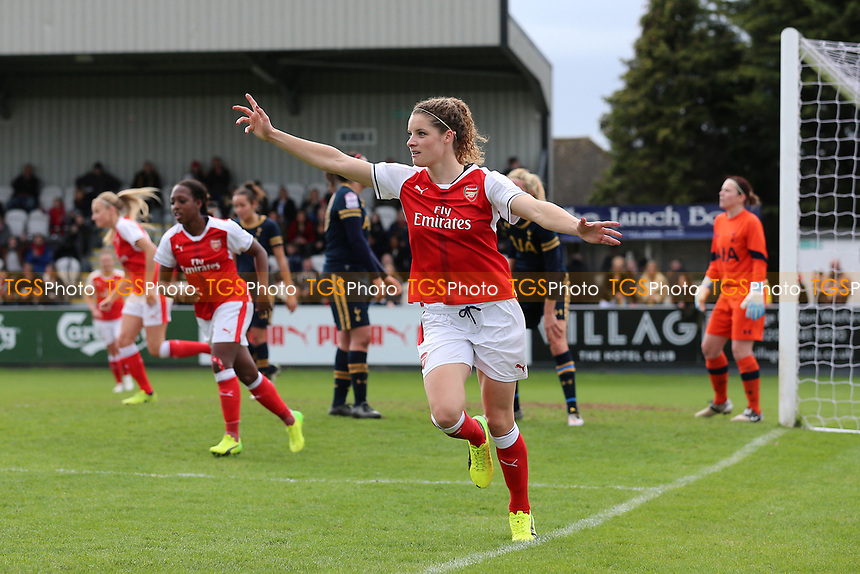 Dominique Janssen of Arsenal scores the second goal for her team and celebrates during Arsenal Ladies vs Tottenham Hotspur Ladies, SSE Women's FA Cup Football at Meadow Park on 19th March 2017