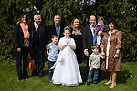 16/05/2015 - Mell Communion – Amelie Conlon with parents Karen & Stephen, brothers  Finn and Noah, sister Zoe, grandparents Colette and Denis, granddad Gus and aunt Carol Picture: www.newsfile.ie