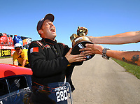 May 21, 2017; Topeka, KS, USA; NHRA pro mod driver Steve Jackson celebrates after winning the Heartland Nationals at Heartland Park Topeka. Mandatory Credit: Mark J. Rebilas-USA TODAY Sports