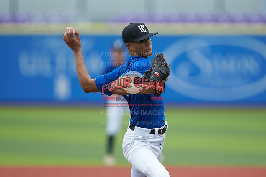 Taj Jones (8) of Southwest Guilford High School in High Point, NC during the Atlantic Coast Prospect Showcase hosted by Perfect Game at Truist Point on August 22, 2020 in High Point, NC. (Brian Westerholt/Four Seam Images)