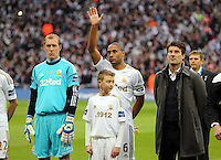 Pictured:  (L-R) Gerhard Tremmel, Ashley Williams and Michael Laudrup.Sunday 24 February 2013<br />
