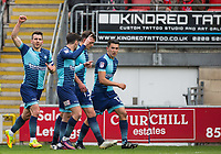 Matt Bloomfield (left) of Wycombe Wanderers celebrates his goal during the Sky Bet League 2 match between Leyton Orient and Wycombe Wanderers at the Matchroom Stadium, London, England on 1 April 2017. Photo by Andy Rowland.
