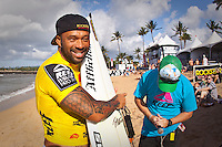 "Sunny Garcia (HAW)  HALEIWA, HI (Nov. 18, 2009) -- The world's first $1,000,000 surf series, the Vans Triple Crown of Surfing presented by Rockstar Energy Drink, got underway again today on Oahu's North Shore today with the battle for the record ""Triple Threat"" prize purse. Haleiwa is playing host to the first jewel in the crown: the Reef Hawaiian Pro, a prime 6-star men's ASP World Qualifying Series event...Competition will got underway at 8 a.m. in the 3- to 5-foot surf with the completion of round two and ran 14 heats of round three...The northern hemisphere winter months on the North Shore signal a concentration of surfing activity with some of the best surfers in the wolrd taking advantage of swells originating in the stormy Northern Pacific. Notable North Shore spots include Waimea Bay, Off The Wall, Backdoor, Log Cabins, Rockpiles and Sunset Beach... Ehukai Beach is more  commonly known as Pipeline and is the most notable surfing spot on the North Shore. It is considered a prime spot for competitions due to its close proximity to the beach, giving spectators, judges, and photographers a great view...The North Shore is considered to be one the surfing world's must see locations and every December hosts three competitions, which make up the Triple Crown of Surfing. The three men's competitions are the Reef Hawaiian Pro at Haleiwa, the O'Neill World Cup of Surfing at Sunset Beach, and the Billabong Pipeline Masters. The three women's competitions are the Reef Hawaiian Pro at Haleiwa, the Gidget Pro at Sunset Beach, and the Billabong Pro on the neighboring island of Maui...Photo: Joliphotos.com"