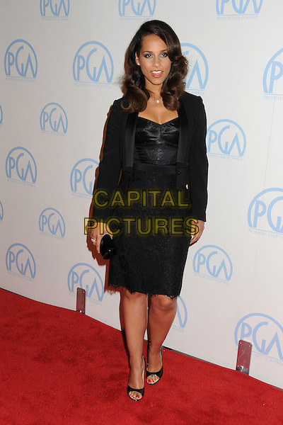 Alicia Keys.23rd Annual Producers Guild Awards held at the Beverly Hilton Hotel, - Beverly Hills, California, USA, .21st January 2012..full length  black lace dress  jacket tuxedo tux open toe shoes clutch bag  bustier .CAP/ADM/BP.©Byron Purvis/AdMedia/Capital Pictures.