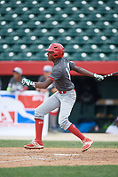 Yasel De Los Santos (12) at bat during the Dominican Prospect League Elite Underclass International Series, powered by Baseball Factory, on July 31, 2017 at Silver Cross Field in Joliet, Illinois.  (Mike Janes/Four Seam Images)