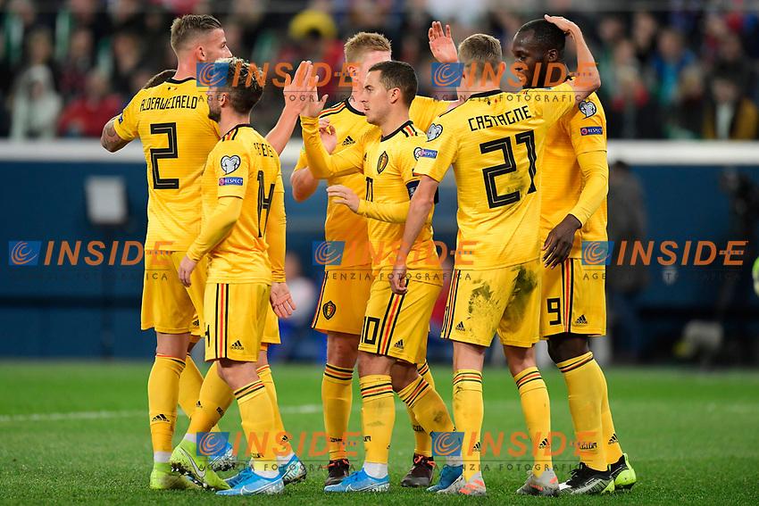 Eden Hazard midfielder of Belgium celebrates scoring a goal with teammates  <br /> Saint Petersbourg  - Qualification Euro 2020 - 16/11/2019 <br /> Russia - Belgium <br /> Foto Photonews/Panoramic/Insidefoto <br /> ITALY ONLY