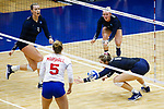 PENSACOLA, FL - DECEMBER 09: Mariya Sampson (8) of Concordia University, St. Paul misses a dig attempt during the Division II Women's Volleyball Championship held at UWF Field House on December 9, 2017 in Pensacola, Florida. (Photo by Timothy Nwachukwu/NCAA Photos via Getty Images)