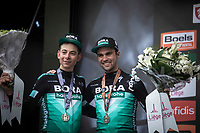 podium with teammates:<br /> <br /> 2nd place: Davide Formolo (ITA/Bora Hansgrohe)<br /> 3th place: Maximilian Schachmann (DEU/Bora Hansgrohe), <br /> <br /> <br /> 105TH Liège-Bastogne-Liège 2019 (1.UWT)<br /> 1 Day Race Liège-Liège (256km)<br /> <br /> ©kramon