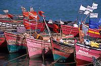 Afrique/Maghreb/Maroc/El-Jadida : Le port de pêche, barques de pêcheurs