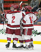 Jimmy Vesey (Harvard - 19), Tyler Moy (Harvard - 2), Alexander Kerfoot (Harvard - 14) - The Harvard University Crimson defeated the visiting Princeton University Tigers 5-0 on Harvard's senior night on Saturday, February 28, 2015, at Bright-Landry Hockey Center in Boston, Massachusetts.