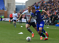 8th February 2020; DW Stadium, Wigan, Greater Manchester, Lancashire, England; English Championship Football, Wigan Athletic versus Preston North End; Joe Gelhardt of Wigan Athletic beats Tom Clarke of Preston North End