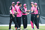 Chris Carter of Hung Hom JD Jaguars (R) celebrates with his team after taking the wicket during the Hong Kong T20 Blitz match between Hung Hom JD Jaguars and HKI United at Tin Kwong Road Recreation Ground on March 09, 2017 in Hong Kong, Hong Kong. Photo by Marcio Rodrigo Machado / Power sport Images