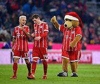 13.12.2017,  Football 1.Liga 2017/2018, 14. match day, FC Bayern Muenchen - 1.FC Koeln, in Allianz-Arena Muenchen.  Rafinha (FC Bayern Muenchen) , Sebastian Rudy (FC Bayern Muenchen) and Berni Bayern Maskottchen. *** Local Caption *** © pixathlon<br /> <br /> +++ NED + SUI out !!! +++<br /> Contact: +49-40-22 63 02 60 , info@pixathlon.de