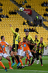 Wellington Phoenix' Dylan Fox and Brisbane&rsquo;s Ivan Franjic in action during the A League - Wellington Phoenix v Brisbane Roar FC at Westpac Stadium, Wellington, New Zealand on Sunday 25 March 2018.<br /> Photo by Masanori Udagawa. <br /> www.photowellington.photoshelter.com